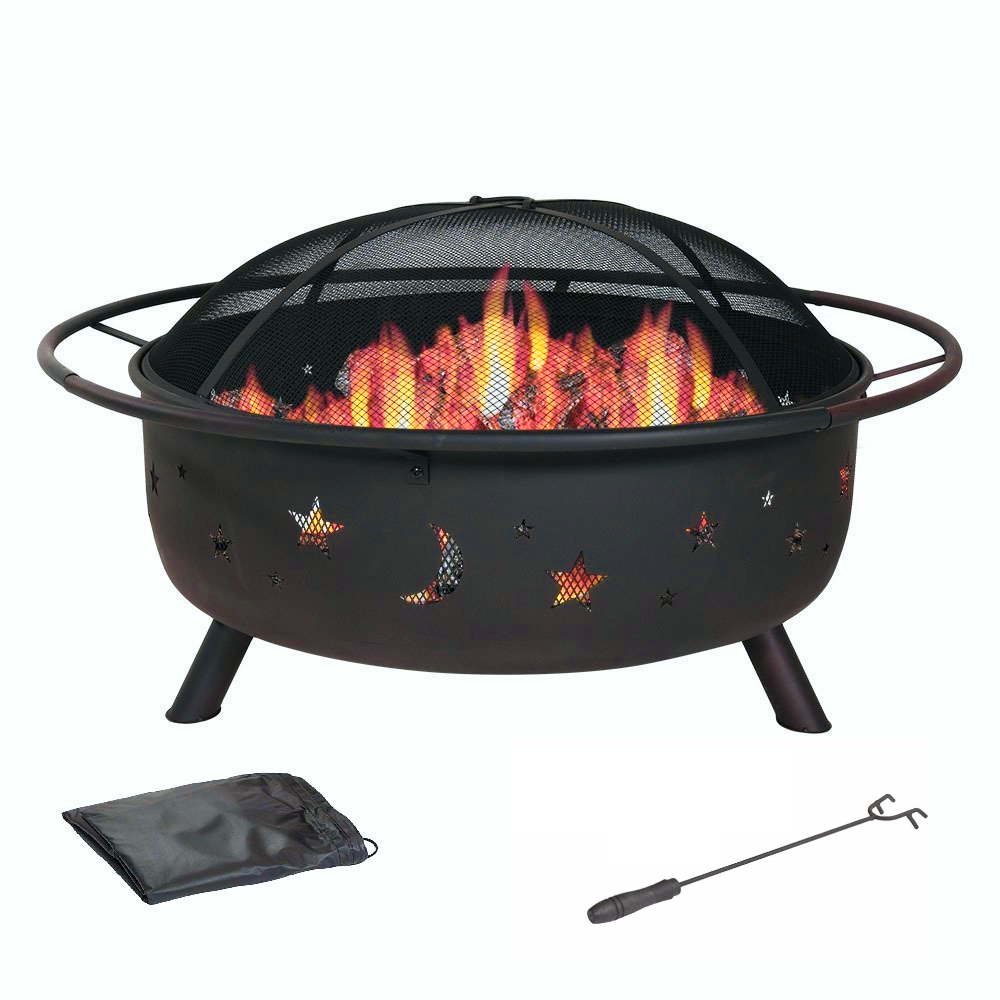 "30"" Wood Burning Fire Pit with Charcoal Grill and Spark Screen"