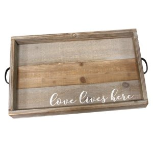 "Distressed ""Love Lives Here"" Metal & Wood Tray"