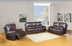 "165"" Stylish Brown Leather Couch Set"
