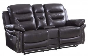"44"" Comfortable Brown Leather Console Loveseat"
