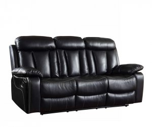"42"" Sturdy Black Leather Sofa"