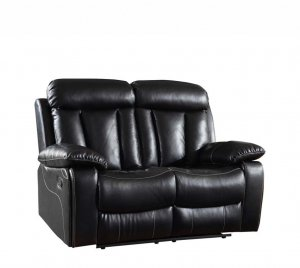 "42"" Sturdy Black Leather Loveseat"