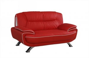 "40"" Sleek Red Leather Loveseat"