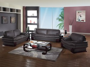"110"" Dazzling Brown Leather Couch Set"