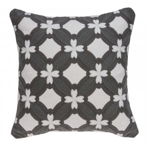 "20"" x 0.5"" x 20"" Transitional Gray and White Pillow Cover"