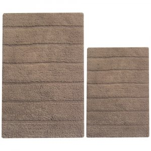 Rectangular Shape 2 Piece Cotton Bath Rug Set, Mocha Brown