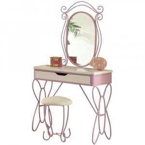 Contemporary Style Metal and Wood Vanity Set, White and Purple
