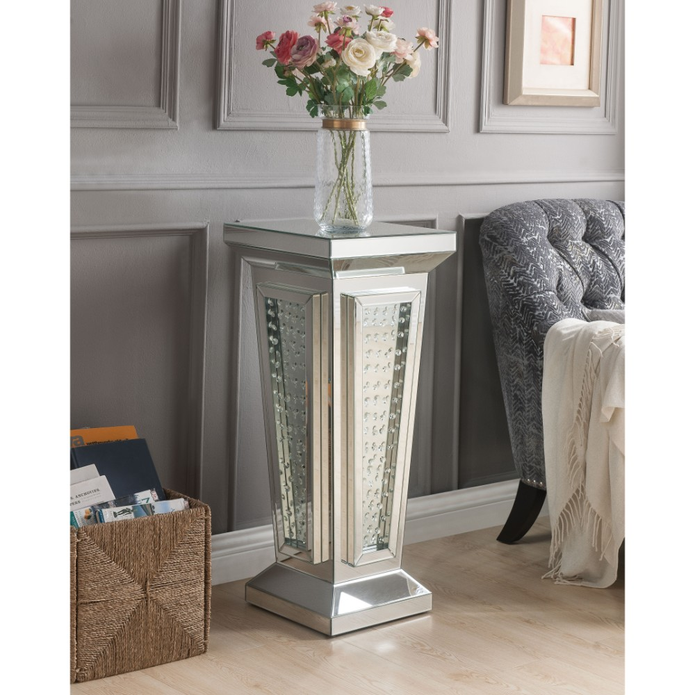 Wood and Mirror Pedestal Stand With Faux Crystals, Silver