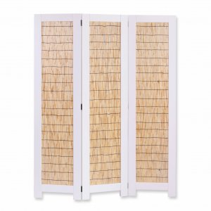 "47"" x 1.5"" x 67"" White, Wood Wicker - 3 Panel Screen"
