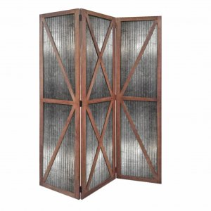"47"" x 1.5"" x 67"" Silver And Brown, Wood And Metal, Industrial - Screen"