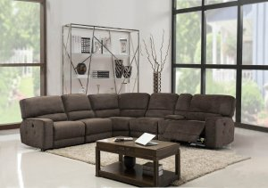 254'' X 41''  X 40'' Modern Brown Fabric Sectional With Power Recliners