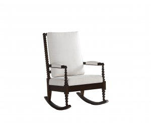 "25"" X 33"" X 41"" Cream Fabric Walnut Wood Upholstered (Seat) Rocking Chair"