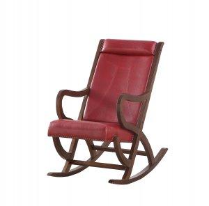 "22"" X 36"" X 38"" Burgundy PU Walnut Wood Upholstered (Seat) Rocking Chair"