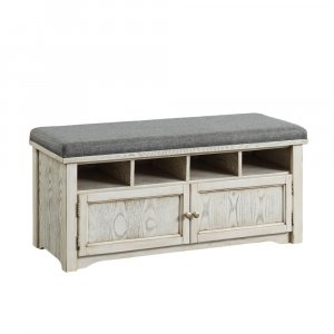 Spacious Wooden Shoe Bench with Linen Upholstered Cushioned Seat, White and Gray