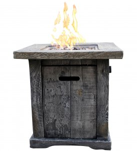 Wood Look Outdoor Gas Fire Pit with Lava Rocks and Control Panel, Gray