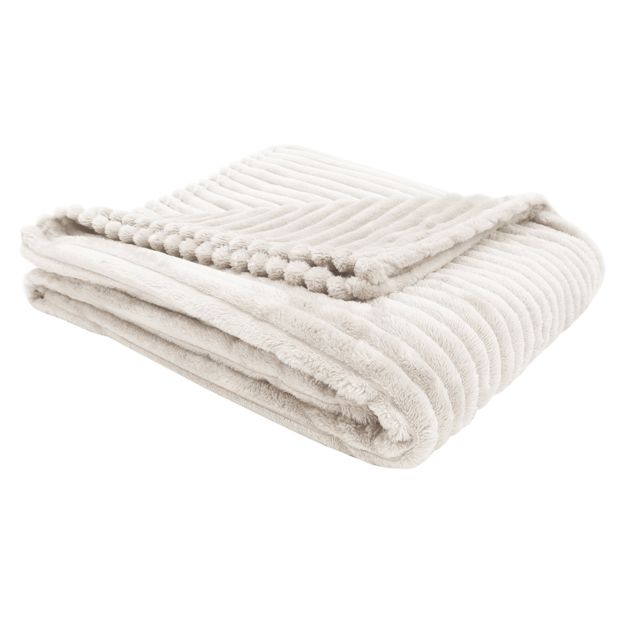 """50""""x 60"""" Throw Ivory Ultra Soft Ribbed Style"""