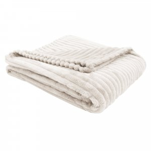 "50"" x 60"" Ivory, Ultra Soft Ribbed Style - Throw"