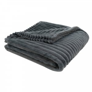 "50"" x 60"" Grey Ultra Soft Ribbed Style - Throw Blanket"