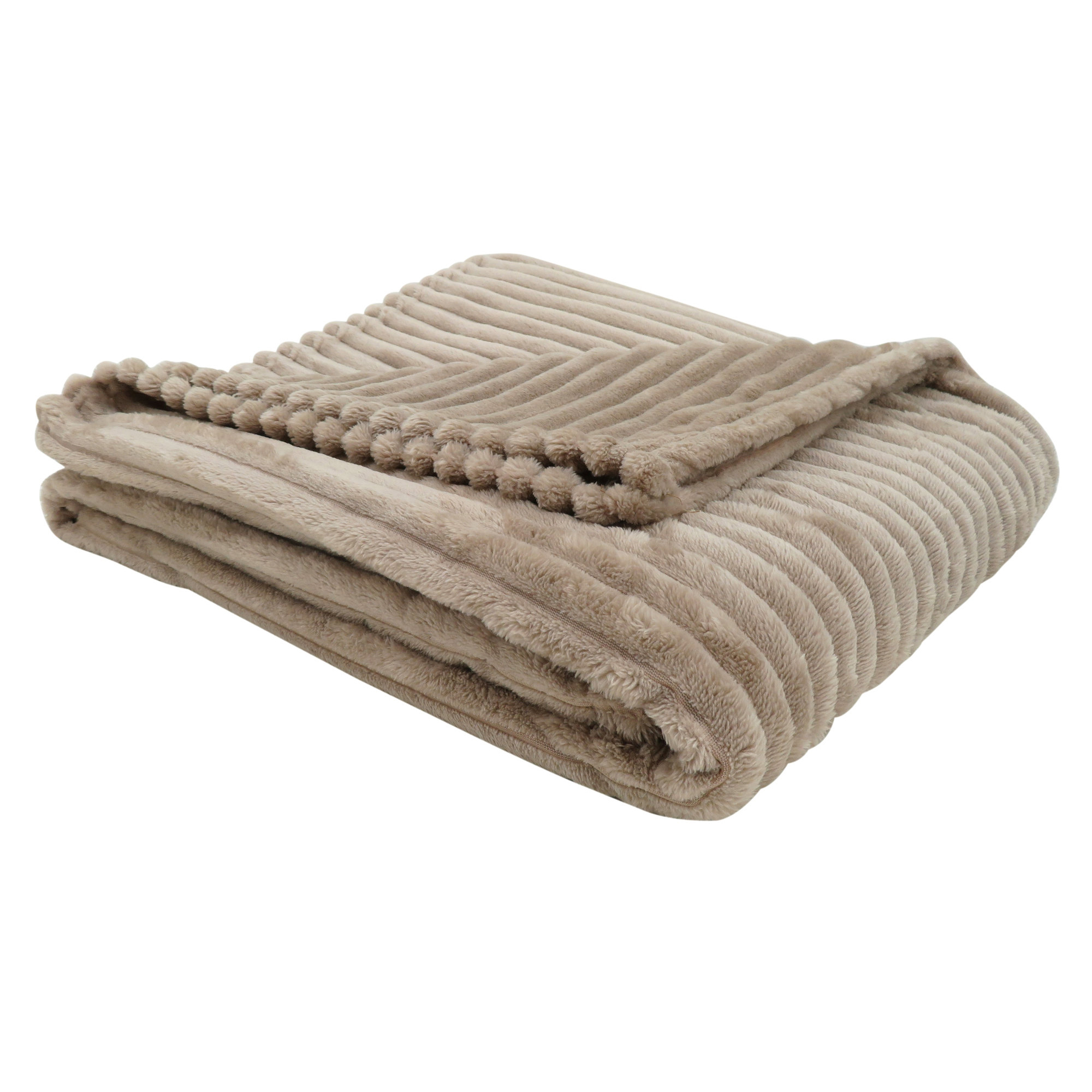 """50""""x 60"""" Throw Beige Ultra Soft Ribbed Style"""