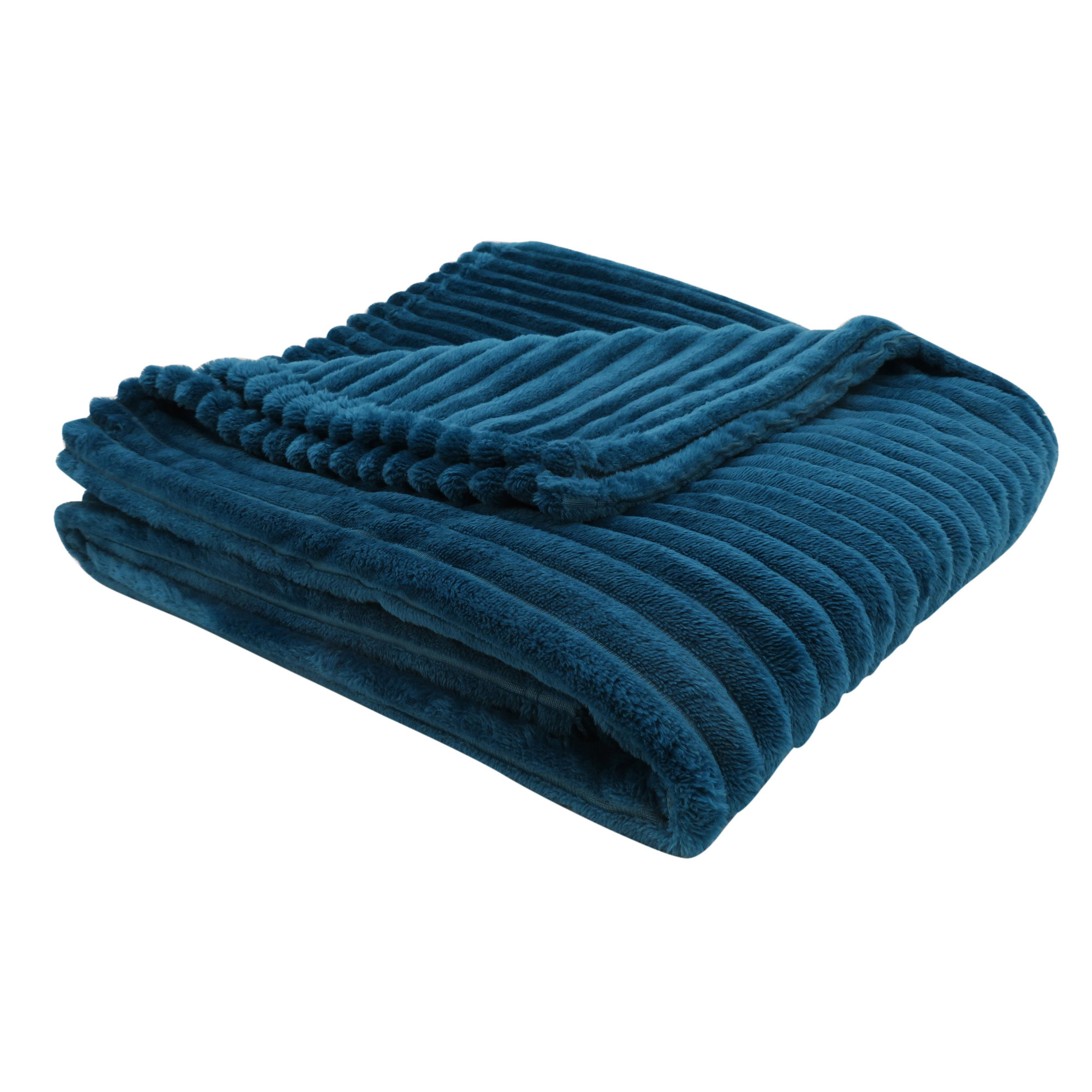 """50""""x 60"""" Throw Blue Ultra Soft Ribbed Style"""