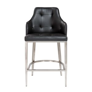 """22.05"""" X 22.84"""" X 44.1"""" Gray Leatherette Bar Stool with Brushed Stainless Steel Legs"""