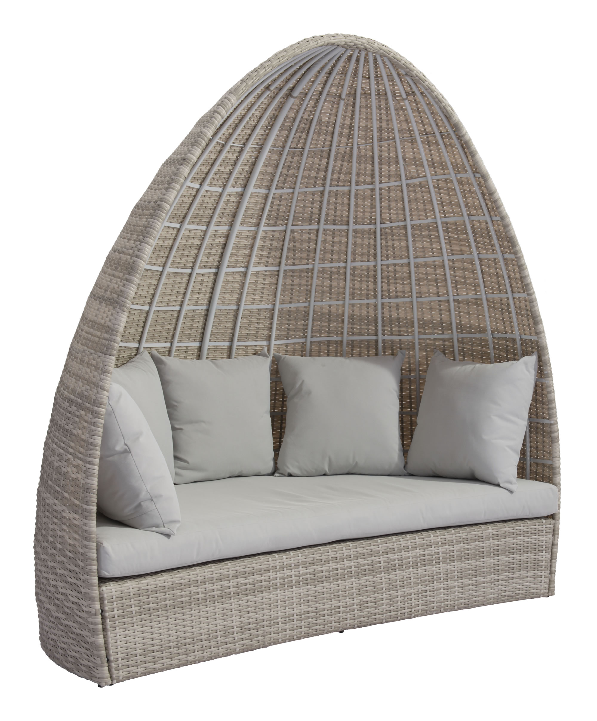 """79.5"""" x 45.7"""" x 80.3"""" White & Gray, Synthetic Weave, Aluminum, Daybed"""